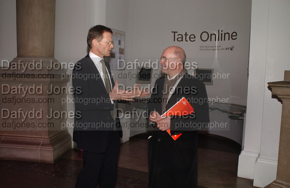 SIR NICHOLAS SEROTA and BRIAN BOYLAN. Triennial 2006 Tate Britain,  Millbank. London. 28 February 2006.  ONE TIME USE ONLY - DO NOT ARCHIVE  © Copyright Photograph by Dafydd Jones 66 Stockwell Park Rd. London SW9 0DA Tel 020 7733 0108 www.dafjones.com