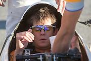 Jan Bos zit klaar voor de start in de VeloX2. In de buurt van Battle Mountain, Nevada, strijden van 10 tot en met 15 september 2012 verschillende teams om het wereldrecord fietsen tijdens de World Human Powered Speed Challenge. Het huidige record is 133 km/h.<br /> <br /> Jan Bos is sitting in the VeloX2 before the start. Near Battle Mountain, Nevada, several teams are trying to set a new world record cycling at the World Human Powered Speed Challenge from Sept. 10th till Sept. 15th. The current record is 133 km/h.