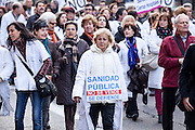 Health care staff walking with placards,Madrid.