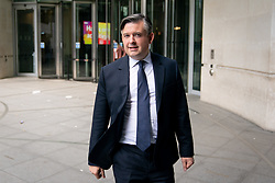 © Licensed to London News Pictures. 12/05/2019. London, UK. Shadow Secretary of State for Health and Social Care Jon Ashworth leaving BBC Broadcasting House after appearing on The Andrew Marr Show this morning. Photo credit : Tom Nicholson/LNP