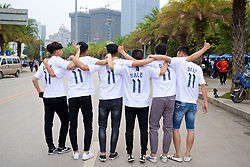 NANNING, CHINA - Monday, March 26, 2018: Gareth Bale supporters during the 2018 Gree China Cup International Football Championship Final between Wales and Uruguay at the Guangxi Sports Centre. (Pic by David Rawcliffe/Propaganda)