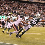 David Nelson, New York Jets, can't get to a Geno Smith pass late in the game during the New York Jets Vs Chicago Bears, NFL regular season game at MetLife Stadium, East Rutherford, NJ, USA. 22nd September 2014. Photo Tim Clayton for the New York Times