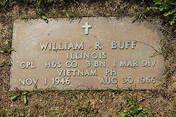 31 August 2017:   Veterans graves in Park Hill Cemetery in eastern McLean County.<br /> <br /> William R Buff  Illinois  Corporal   H&S Co BN 1 MAR DIV  Vietnam  Purple Heart  Nov 1 1946  Aug 30 1966