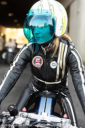 Sabine Singenberger at the 1/8 mile sprint races during the Intermot International Motorcycle Fair. Cologne, Germany. Saturday October 6, 2018. Photography ©2018 Michael Lichter.