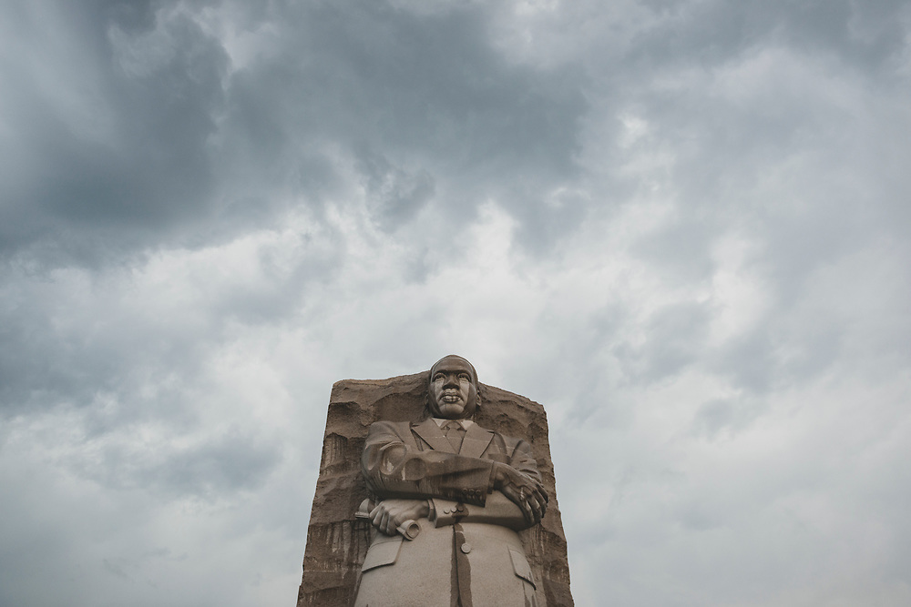 A cloudy day with a little rain at the Martin Luther King Jr. Memorial in Washington DC.