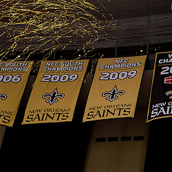 September 9, 2010; New Orleans, LA, USA;  The New Orleans Saints unveil their Super Bowl XLIV championship banner prior to kickoff of the NFL Kickoff season opener at the Louisiana Superdome. The New Orleans Saints defeated the Minnesota Vikings 14-9.  Mandatory Credit: Derick E. Hingle