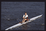 London. United Kingdom. Nick BAKER. 1990 Scullers Head of the River Race. River Thames, viewpoint Chiswick Bridge Saturday 07.04.1990<br /> <br /> [Mandatory Credit; Peter SPURRIER/Intersport Images] 19900407 Scullers Head, London Engl