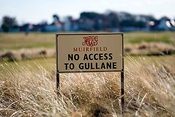 Sign at Muirfield Golf Course in Gullane, East Lothian, Scotland, United Kingdom