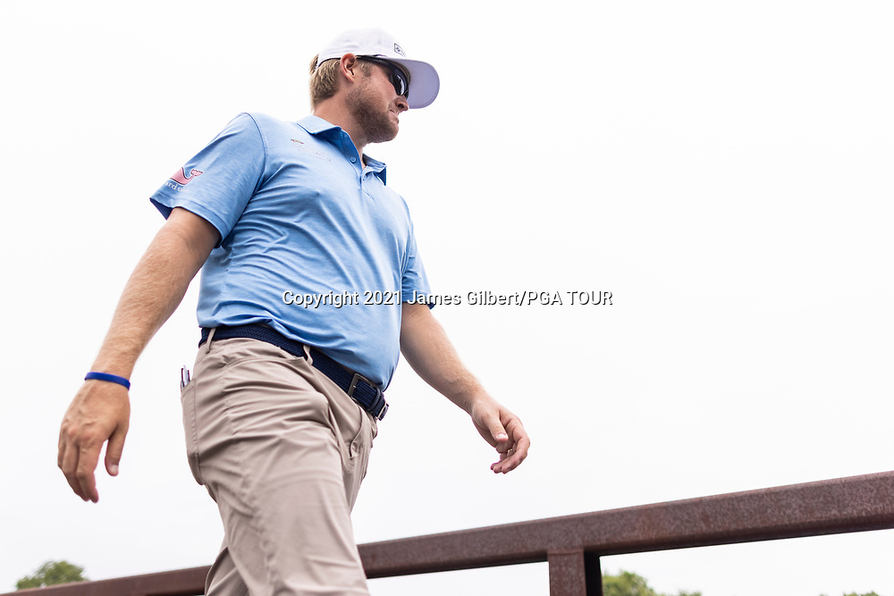 NEWBURGH, IN - SEPTEMBER 04: Trey Mullinax looks on as he walks across a bridge to the 4th hole during the third round of the Korn Ferry Tour Championship presented by United Leasing and Financing at Victoria National Golf Club on September 4, 2021 in Newburgh, Indiana. (Photo by James Gilbert/PGA TOUR via Getty Images)