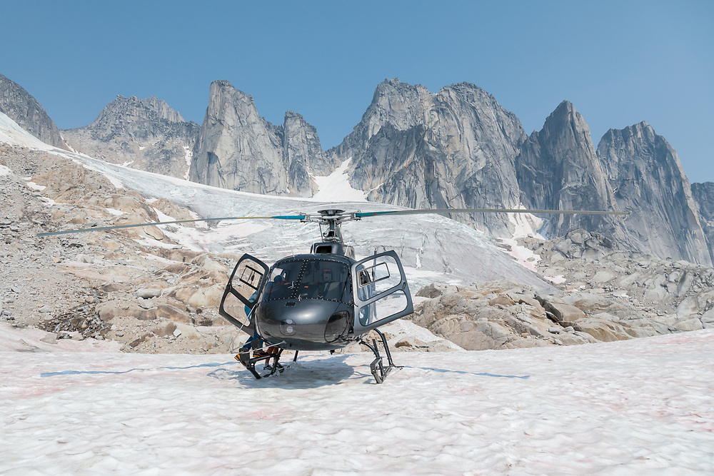 Whitetooth Helicopters dropping us off at East Creek, in the Bugaboos