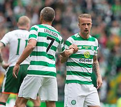 Celtic's Henrik Larsson (left) congratulates Leigh Griffiths during the testimonial match at Celtic Park, Glasgow.