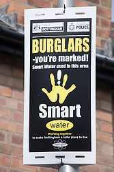 Sign warning burglars that Smart Water is used in the area,