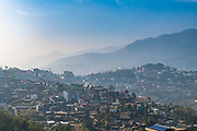 Houses perched on the hills, Kohima, Nagaland, India