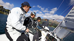 On board TEAMORIGIN. St Moritz Match Race 2010. World Match Racing Tour. St Moritz, Switzerland. 31st August 2010. Photo: Ian Roman/Subzero Images.