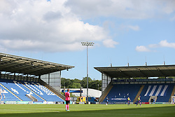 View of the empty stadium in play - Mandatory by-line: Arron Gent/JMP - 18/06/2020 - FOOTBALL - JobServe Community Stadium - Colchester, England - Colchester United v Exeter City - Sky Bet League Two Play-off 1st Leg