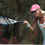Nicole Hesse Cazaux, France, in action in the 60 Womens Singles during the 2009 ITF Super-Seniors World Team and Individual Championships at Perth, Western Australia, between 2-15th November, 2009.