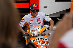 September 7, 2017 - San Marino, RN, Italy - Marc Marquez of Repsol Honda Team before the presentation press conference of the Tribul Mastercard Grand Prix of San Marino and Riviera di Rimini, at Misano World Circuit ''Marco Simoncelli'', on September 07, 2017 in Misano Adriatico, Italy  (Credit Image: © Danilo Di Giovanni/NurPhoto via ZUMA Press)