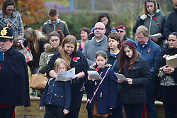 © Licensed to London News Pictures. 08/11/2015. Duxford, UK. Members of the public take part in a service on Remembrance Sunday at Imperial War Museum Duxford, Cambridgeshire. Photo credit: Ben Cawthra/LNP
