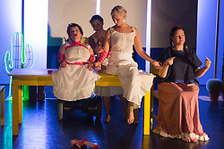 """© Licensed to London News Pictures. 05/10/2015. London, UK. L-R: Caroline Bowditch, Nicole Guarino, Welly O'Brien and Yvonne Strain. Caroline Bowditch's """"Falling in Love with Frida"""" explores the life, loves and legacy of disabled artist Frida Kahlo at the Lilian Baylis Studio/Sadler's Wells on 5-6 October 2015. Performed by Caroline Bowditch, Welly O'Brien, Nicole Guarino and Yvonne Strain (sign language interpreter). Photo credit: Bettina Strenske/LNP"""