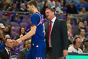 FORT WORTH, TX - FEBRUARY 6: Kansas Jayhawks head coach Bill Self has words with Sviatoslav Mykhailiuk #10 against the TCU Horned Frogs on February 6, 2016 at the Ed and Rae Schollmaier Arena in Fort Worth, Texas.  (Photo by Cooper Neill/Getty Images) *** Local Caption *** Sviatoslav Mykhailiuk; Bill Self