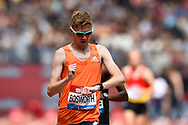 Tom Bosworth of Great Britain checks his watch during the Men's 3000m Race Walk at the Muller Anniversary Games, Day One, at the London Stadium, London, England on 21 July 2018. Picture by Martin Cole.