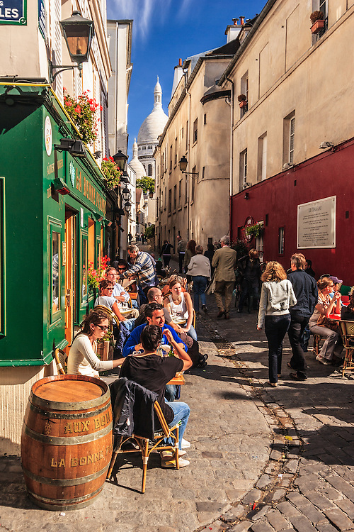Restaurant La Bonne Franquette on Montmartre in Paris, France. Once the meeting point of famous artists,  Pissarro, Sisley, Cézanne, Toulouse-Lautrec, Renoir, Monet, Zola et Vincent Van Gogh, it is now a popular tourist restaurant.