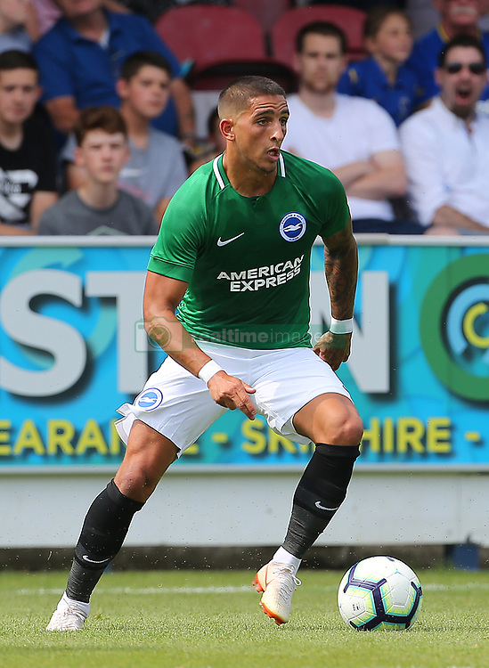 """Brighton and Hove Albion's Anthony Knockaert on the ball during a pre season friendly match at The Cherry Red Records Stadium, Kingston Upon Thames. PRESS ASSOCIATION Photo. Picture date: Saturday July 21, 2018. Photo credit should read: Mark Kerton/PA Wire. EDITORIAL USE ONLY No use with unauthorised audio, video, data, fixture lists, club/league logos or """"live"""" services. Online in-match use limited to 75 images, no video emulation. No use in betting, games or single club/league/player publications."""