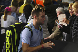 November 14, 2017 - London, England, United Kingdom - Jack Sock of the USA leaves the court after he won Singles match against Marin Cilic of Croatia on day three of the Nitto ATP World Tour Finals at O2 Arena, London on November 14, 2017. (Credit Image: © Alberto Pezzali/NurPhoto via ZUMA Press)
