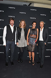 Left to right, SIMON LE BON, EVA HERZIGOVA, YASMIN LE BON and PERRY OOSTING at a party to celebrate the launch of the new Vertu Constellation phone - the luxury phonemakers first touchscreen handset, held at the Farmiloe Building, St.John Street, Clarkenwell, London on 24th November 2011.
