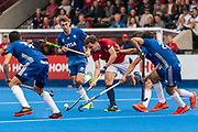 Harry Martin of Great Britain Men is tackled by Nicolas Cicileo of Argentina Men during the 2019 Men's FIH Pro League match at Lee Valley Hockey Centre, Stratford<br /> Picture by Simon Parker/Focus Images Ltd <br /> 18/05/2019