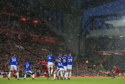 10th December 2017 - Premier League - Liverpool v Everton - Philippe Coutinho of Liverpool strikes his free kick over the wall in the snow at Anfield - Photo: Simon Stacpoole / Offside.