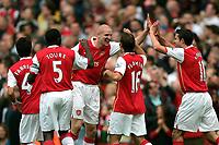 Photo: Tom Dulat.<br /> Arsenal v Sunderland. The FA Barclays Premiership. 07/10/2007.<br /> Philippe Sanderos(middle) celebrates his goal for Arsenal, 2-0