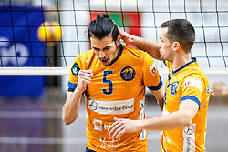 Toukhteh Amir Hosseina and Gregor Ropret of ACH Volley celebrate during 2nd Leg Volleyball match between ACH Volley and OK Merkur Maribor in Final of 1. DOL League 2020/21, on April 17, 2021 in Hala Tivoli, Ljubljana, Slovenia. Photo by Matic Klansek Velej / Sportida