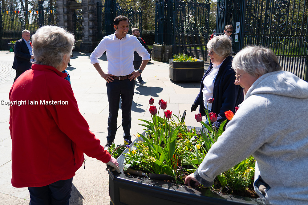 Dunfermline, Scotland, UK. 25 April 2021. Scottish Labour Leader Anas Sarwar visits Dunfermline with his Mid Scotland and  Fife candidates for the upcoming Scottish Parliamentary Elections and meets members of the public in Pittencrieff Park. Iain Masterton/Alamy Live News