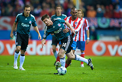 MADRID, SPAIN - Wednesday, October 22, 2008: Liverpool's Xabi Alonso and Club Atletico de Madrid's Florent Sinama Pongolle during the UEFA Champions League Group D match at the Vicente Calderon. (Photo by David Rawcliffe/Propaganda)
