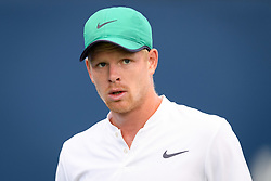 August 6, 2018 - Toronto, ON, U.S. - TORONTO, ON - AUGUST 06: Kyle Edmund (GBR) reacts during his first round match of the Rogers Cup tennis tournament on August 6, 2018, at Aviva Centre in Toronto, ON, Canada. (Photograph by Julian Avram/Icon Sportswire) (Credit Image: © Julian Avram/Icon SMI via ZUMA Press)