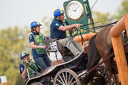 Tomas Eriksson, (SWE), Don Pronto, Pamino 73, Rachi Rodslev, Speedy, Wittstein 2 - Driving Marathon - Alltech FEI World Equestrian Games™ 2014 - Normandy, France.<br /> © Hippo Foto Team - Jon Stroud<br /> 06/09/2014