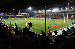 Gloucester fans in The Shed celebrate as Gloucester score a penalty during the Aviva Premiership match at the Kingsholm Stadium, Gloucester.