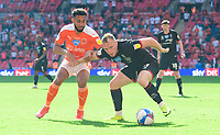 Lincoln City's Anthony Scully vies for possession with Blackpool's Grant Ward<br /> <br /> Photographer Chris Vaughan/CameraSport<br /> <br /> The EFL Sky Bet League One Play-Off Final - Blackpool v Lincoln City - Sunday 30th May 2021 - Wembley Stadium - London<br /> <br /> World Copyright © 2021 CameraSport. All rights reserved. 43 Linden Ave. Countesthorpe. Leicester. England. LE8 5PG - Tel: +44 (0) 116 277 4147 - admin@camerasport.com - www.camerasport.com