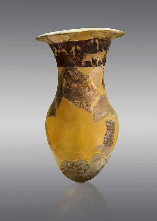 Hüseyindede vases, Old Hittite Po;ychrome Relief vessel, partially finished, 16th century BC. Çorum Archaeological Museum, Corum, Turkey .<br /> <br /> If you prefer to buy from our ALAMY STOCK LIBRARY page at https://www.alamy.com/portfolio/paul-williams-funkystock/hittite-art-antiquities.html  - Huseyindede into the LOWER SEARCH WITHIN GALLERY box. Refine search by adding background colour, place, museum etc<br /> <br /> Visit our HITTITE PHOTO COLLECTIONS for more photos to download or buy as wall art prints https://funkystock.photoshelter.com/gallery-collection/The-Hittites-Art-Artefacts-Antiquities-Historic-Sites-Pictures-Images-of/C0000NUBSMhSc3Oo