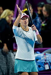 DOHA, Feb. 14, 2019  Angelique Kerber celebrates victory after the singles second round match between Anett Kontaveit of Estonia and Angelique Kerber of Germany at the 2019 WTA Qatar Open in Doha, Qatar, on Feb. 13, 2019. Angelique Kerber won 2-0. (Credit Image: © Xinhua via ZUMA Wire)