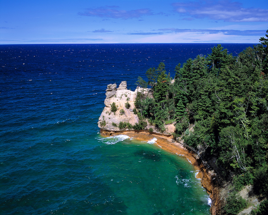 Miners Point and Lake Superior at Pictured Rocks National Lakeshore, Upper Peninsula, Michigan.
