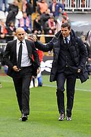 Rayo Vallecano´s coach Paco Jemez and Malaga CF´s coach Javier Gracia Carlos during 2014-15 La Liga match between Rayo Vallecano and Malaga CF at Rayo Vallecano stadium in Madrid, Spain. March 21, 2015. (ALTERPHOTOS/Luis Fernandez)