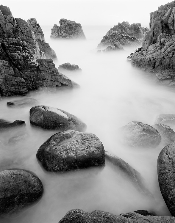 Limited Editions of 8<br /> Coastal Calm on the Monterey Peninsula on the California Coast Black and White Fine Art Prints <br /> Coastal detail with slow exposure on the 17 Mile Drive at Pebble Beach near Monterey California