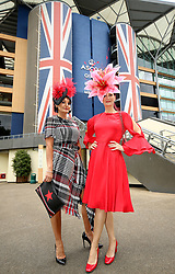 Ilda Di Vico (left) and Chelsey Baker arriving during day one of Royal Ascot at Ascot Racecourse.