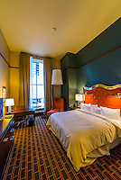 Guest room, Crawford Hotel in the newly renovated Denver Union Station, Downtown Denver, Colorado USA.