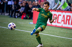 November 4, 2018 - Portland, OR, U.S. - PORTLAND, OR - NOVEMBER 04: Portland Timbers midfielder Sebastián Blanco (10) sends a cross during the Portland Timbers first leg of the MLS Western Conference Semifinals against the Seattle Sounders on November 04, 2018, at Providence Park in Portland, OR. (Photo by Diego Diaz/Icon Sportswire) (Credit Image: © Diego Diaz/Icon SMI via ZUMA Press)