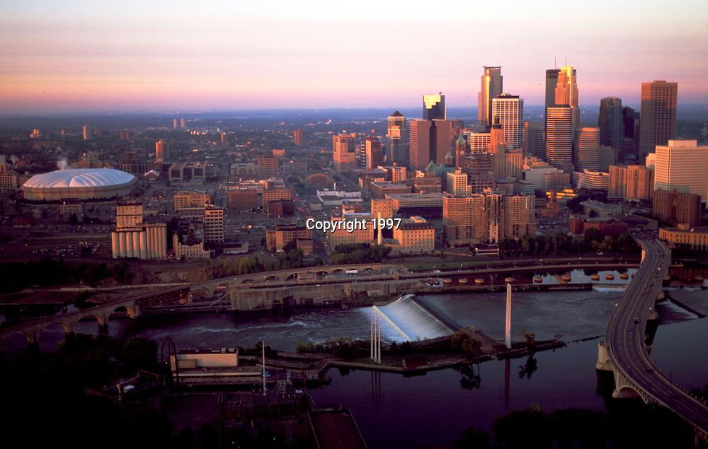 Aerial of Sunrise over Minneapolis, MN Skyline