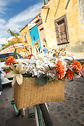 A bicycle basket of flowers outside Firenze restaurant on Recreo Street in the historic center in San Miguel de Allende, Mexico.