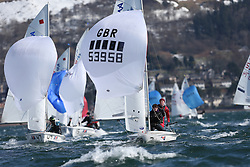 Day 1 of the RYA Youth National Championships 2013 held at Largs Sailing Club, Scotland from the 31st March - 5th April. .53958, Amy-nadine HARPER, Charlotte ASHWORTH, Spinnaker, 420..For Further Information Contact..Matt Carter.Racing Communications Officer.Royal Yachting Association.M: 07769 505203.E: matt.carter@rya.org.uk ..Image Credit Marc Turner / RYA..